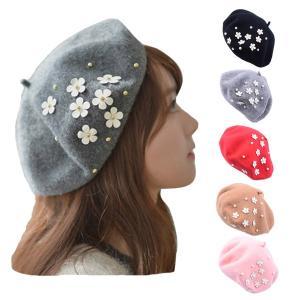 レディース ベレー帽 小花飾り フェルト風 帽子 ベレーキャップ フェルトハット レディース 婦人帽子 HAT 335|bbdirect