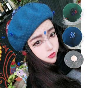 ベレー帽 チュール ドレス 画家帽 ヴェール ドレッシー パーティー カクテルハット|bbdirect