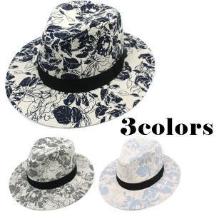 帽子 中折れハット つば広 中折れ帽子 メンズ レディース ボタニカル柄 花柄 フラワー cap 3601|bbdirect
