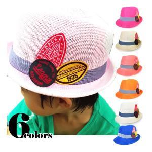 帽子 キッズ ハット 春 夏カラー 中折れハット 中折れ リボン 中折れ帽 ワッペン  HAT 361|bbdirect