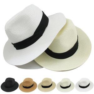 つば広 中折れ ストローハット 麦わら帽子 リボン付 帽子 中折れハット ツバ広 UVカット 日よけ メンズ レディース 春 夏 STRAW HAT 6516|bbdirect