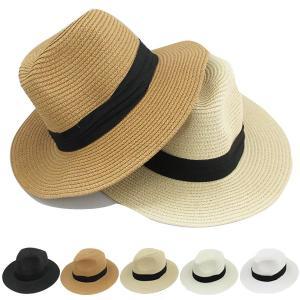 つば広 中折れ 麦わら帽子 ストローハット リボン付 帽子 中折れハット ツバ広 UVカット 日よけ メンズ レディース 春 夏 STRAW HAT 6516|bbdirect