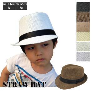キッズハット 麦わら帽子 ハット ストローハット 中折れハット S M リボン 帽子 麦藁 子供用 メンズ レディース ジュニア 春 夏 STRAW HAT 6544|bbdirect