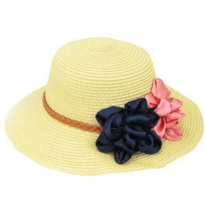 コサージュ付 つば広 麦わら帽子 レディースハット 帽子 ストローハット ツバ広 UVカット 紫外線帽子 日よけ帽子 婦人帽 夏 STRAW HAT 6560|bbdirect
