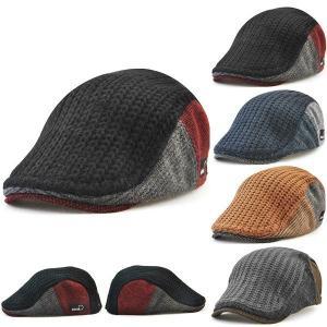 パッチワーク風 厚手 ハンチング 帽子 ニットハンチング ミックスカラー キャップ ハンチング帽 コットン メンズ レディース 秋 冬 HUNTING CAP 7100 bbdirect