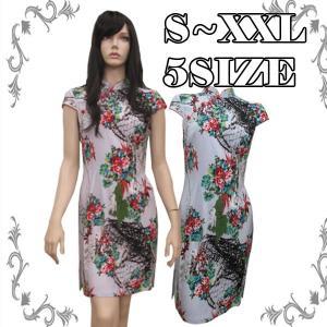 チャイナドレス ショート ドレス 半袖 花柄 ミニ チャイナ服 衣装|bbdirect