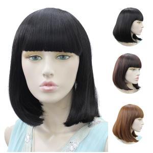 やや長め、お洒落なぱっつん前髪付きストレートミディアムボブ。 品名:ミディアムボブ(wig-w381...