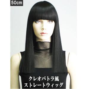 クレオパトラ風 フルウィッグ 50cm ミディアムストレート セミロング ウィッグ ブラック 黒 黒髪  かつら コスプレウィッグ 仮装 変装 WIG W9396 bbdirect