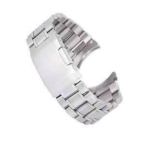 時計バンド 交換ベルトステンレス製 腕時計ストラップ 22mm シルバー (シルバー)|bbmarket