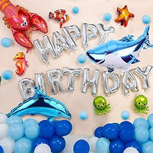 誕生日 飾り HAPPY BIRTHDAYバルーン 海洋生物の世界のテーマの誕生日パーティー 風船 クリスマス 結婚式 記念日 お祝い 誕生日 飾り付|bbmarket