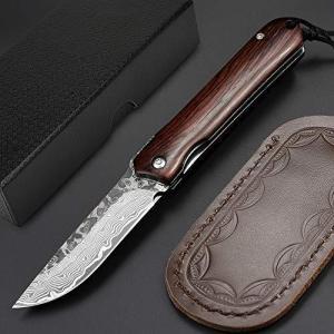 折りたたみ アウトドア ナイフ 心が吸い込まれる華麗なるダマスカス紋様 ダマスカス鋼 NedFossの絶対の自信作 木製ハンドル 独特な存在感 64層|bbmarket
