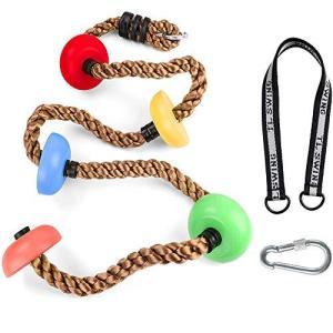 Rakucamp 登りロープ 子供 ターザンロープ 2m 五つノート 室内 ノットロープ 登り綱 キッズ クライミングロープ 自宅 お庭で遊ぶ 動育|bbmarket