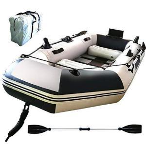 Fkstyle フィッシングボート ゴムボート 3人乗り オール2本セット 230cm×115cm×30cm 収納ケース付き 船外機可 釣り竿ホルダー|bbmarket