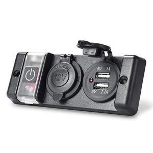 MICTUNING カーチャージャーパネル USB 電源ソケット プリワイヤード12V ブレーカ スイッチパネル シガーライターソケット 2.1A / bbmarket