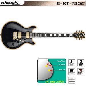 edwards / E-KT-135C Black / ESP エドワーズ エレキギター EKT135C ブラック レスポール・ダブルカッタウェイ・シェイプ 送料無料|bbmusic