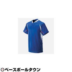 ミズノ ベースボールシャツ 野球 マルチベースボールシャツ ハーフボタン小衿付き パステルネイビー×ホワイト×レッド P5UP メンズ