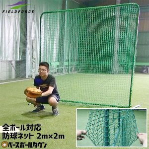 野球 防球用 平面ダブルネット 硬式球対応 練習用品 2m×2m 防護ネット FBNT-2021W フィールドフォース ラッピング不可|bbtown