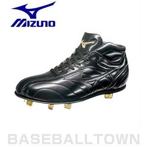 ミズノ スパイク 野球 レザーソール金具 グローバルエリートMC ミッドカット ブラック 2KW133|bbtown