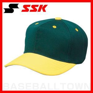 SSK 野球 帽子 角ツバ6方型 グリーン×イエロー BC062-5030 野球帽 練習帽 ベースボールキャップ メンズ|bbtown