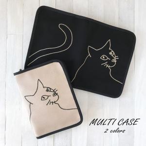 ねこ好きさんのマルチケース ちょと大きめ  猫部 ネコ部  母子手帳 かわいい おしゃれ 小物入れ ...