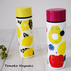 ステンレスボトル 水筒 おしゃれ かわいい 140ml ミニ マイボトル マグボトル フルーツ柄 小さい レモン トモコハヤシ bcolors