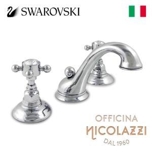洗面水栓 蛇口 交換 混合水栓 イタリア製 スワロフスキー 三つ穴用 8インチ 吐水口高8.4cm Nicolazzi ニコラッツイ 1408-93 bcube