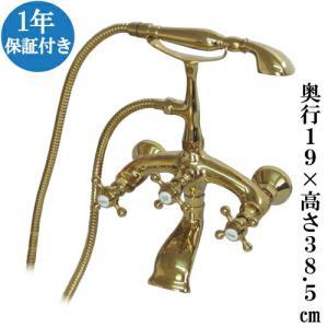 シャワーヘッド付き混合水栓 交換 壁掛け ゴールド(金) 幅25.5×奥行19×高38.5cm INK-03010011H|bcube