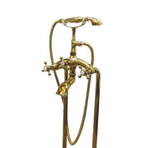 シャワーヘッド付き混合水栓 交換 給湯・給水管セット ゴールド(金) 幅25.5×奥行20×高91cm INK-03010011Hset|bcube