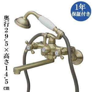 シャワーヘッド付壁掛け混合水栓 交換 スパウトロングタイプ ユニットバス アンティーク風 アンティークゴールド(古金) INK-0301028H|bcube