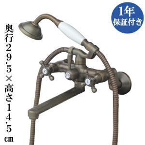 シャワーヘッド付壁掛け混合水栓 交換 スパウトロングタイプ ユニットバス アンティーク風 ブロンズ(古銅) 高14.5cm INK-0301029H|bcube