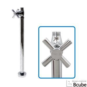 ストレート止水栓  床給水タイプ クロスハンドル シルバー(銀) INK-0304026G bcube