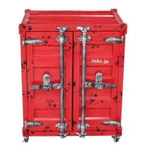 洗面台 洗面化粧台 収納 コンテナボックス レッド(赤) スチームパンク 幅61×高76cm INK-0501078H|bcube