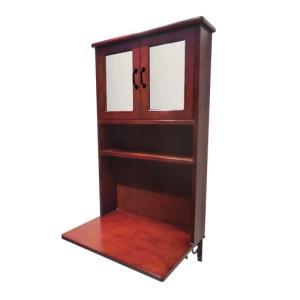 ミラーキャビネット 一体型洗面化粧台(両開き) 木製 洗面収納 ダークブラウン 幅64×高102cm INK-0504137Hset bcube
