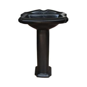 ペデスタルシンク 陶器 足付洗面台 ブラック(黒) 三つ穴 幅47.5×奥行38×高84.5cm INK-0505028H bcube