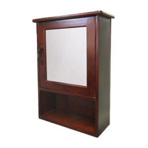 ミラーキャビネット(右開口) 木製 洗面収納 ダークブラウン 幅44×高62cm INK-0702006H bcube