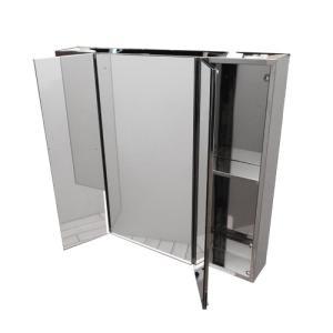 ミラーキャビネット 三面鏡 収納 ステンレス 幅75×高67cm INK-0702017G bcube
