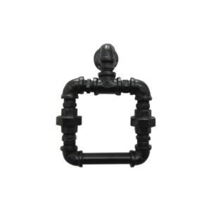 タオルリング ガス管デザイン アイアン製 ブラック(黒) 幅16cm INK-1401112G|bcube