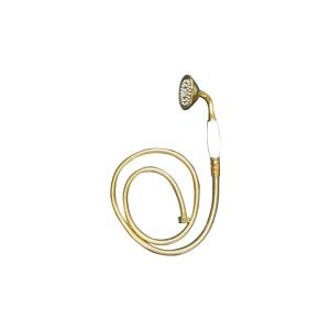 シャワーヘッド ホース付き(1.5m) アンティーク 取手陶器 ゴールド(金) ヘッド:幅6.5×奥行9.5×高21cm INK-9999068Hset bcube