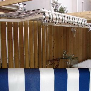 テント オーニング 日よけ 雨よけ ブルー(青)/ホワイト(白) 幅191×奥行20〜156×高23cm INK-K03|bcube