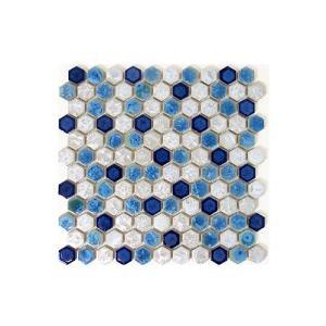 モザイクタイル 陶器 11枚セット(約1平米) ブルー(青)×ホワイト(白) [幅30×奥行30×厚み0.5cm] INK-YZ1C30 bcube