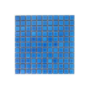 モザイクタイル 陶器 11枚セット(約1平米) ブルー(青) [幅30×奥行30×厚み0.5cm] INK-YZ2542 bcube