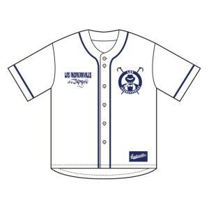 新日本プロレス NJPW BUSHI ベースボールシャツ(ホワイト×ネイビー)|bdrop