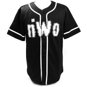 XXLサイズ:WWE nWo 4 Life ブラック ベースボールジャージ|bdrop
