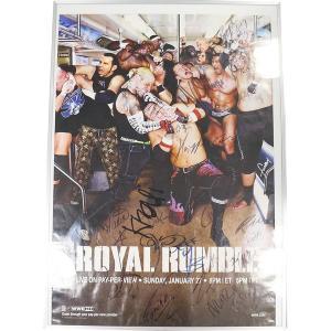 送料無料:WWE ロイヤルランブル 2008 ポスター(額縁入り) ロイヤルランブル参加者直筆サイン入り bdrop