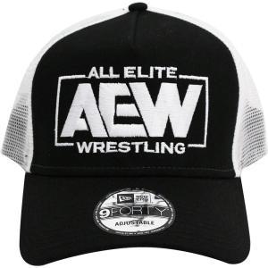 AEW Logo New Era 9FORTY スナップバックメッシュキャップ 帽子 bdrop