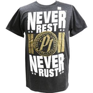 Tシャツ WWE AJ Styles(AJスタイルズ) Never Rest Never Rust チャコール bdrop
