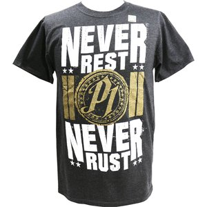 XXLサイズ:WWE AJ Styles(AJスタイルズ) Never Rest Never Rust チャコールTシャツ|bdrop