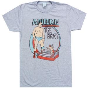Tシャツ XXLサイズ:WWE Andre the Giant (アンドレ・ザ・ジャイアント) HE BIG ライトブルーグレー bdrop