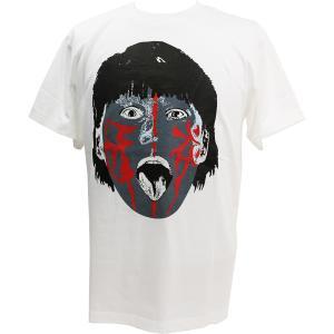 Tシャツ The Great Muta(ザ・グレート・ムタ) 青ペイント ホワイト|bdrop