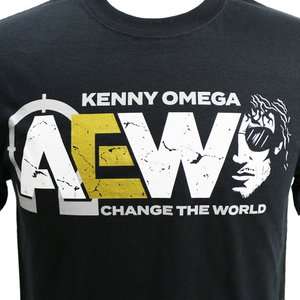 Tシャツ XXLサイズ:AEW Kenny Omega(ケニー・オメガ) Change The World ブラック bdrop 02
